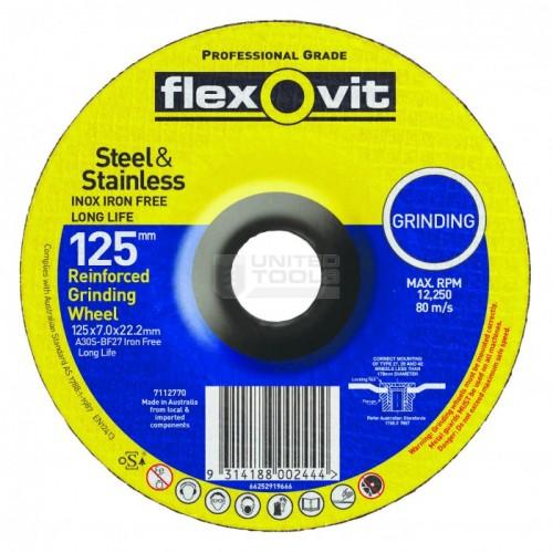 Flexovit 125 x 7.0 x 22 Metal INOX Premium Grinding Disc