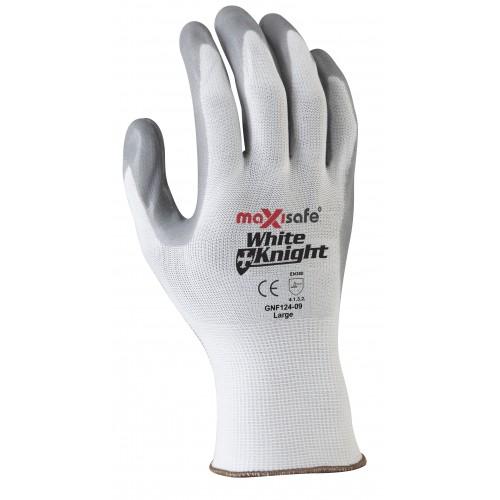 MaxiSafe White Knight Foam-Nitrile Glove